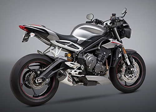 Yoshimura Alpha T Slip-On Exhaust (Street/Stainless Steel/Stainless Steel/Carbon Fiber/Works Finish) Compatible with 18 Triumph ST-TRIPLE765RS