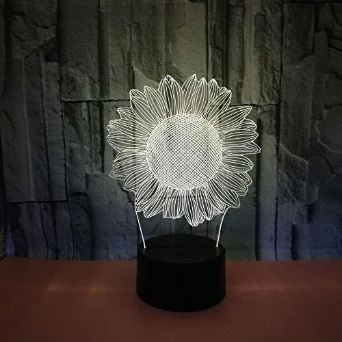 Luz de noche LED ilusión 3D, interruptor táctil de conversión 7 colores Lámpara de escritorio USB para Navidad o decoraciones casa Control remoto de girasol