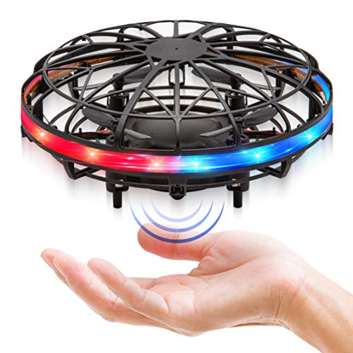 Force1 Scoot LED Hand Operated Drone for Kids or Adults - Hands Free Motion Sensor Mini Drone, Easy Indoor Small UFO Toy Flying Ball Drone Toys for Boys and Girls (Black)