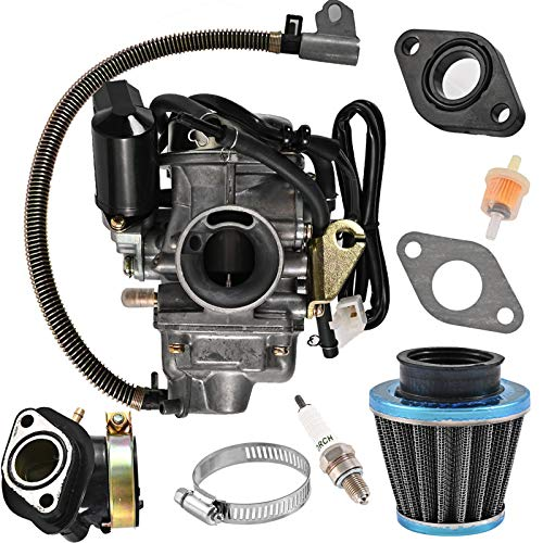 YOU - ALL GY6 125cc/150cc Carburetor for 4 Stroke Engines Electric Choke Scooter ATV Go Kart 152QMI 157QMJ with Air Filter Intake Manifold - PD24J 24mm Carb