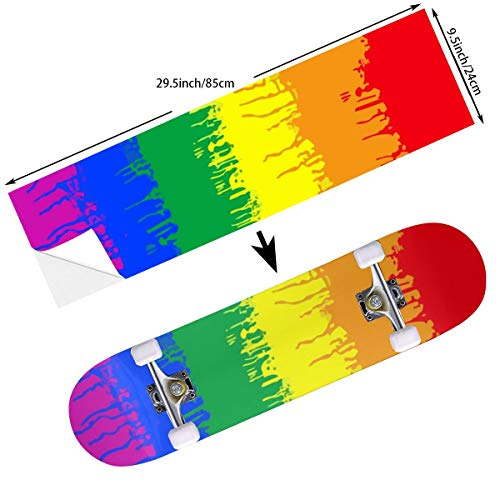 Keceur LGBT Gay Lesbian Flag Skateboard Grip Tape Longboard Griptape Scooter Sticker Sandpaper for Rollerboard,Stairs,Pedal 9.5 X 33.5 Inches