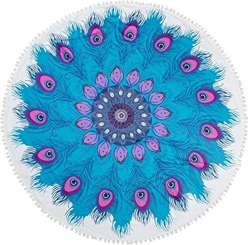 styleBREAKER Toalla para la Playa Redonda con Motivo Ornamental de Plumas y pompón, Toalla de Mano, Toalla de baño, Unisex 05050078, Color:Azul-Violeta