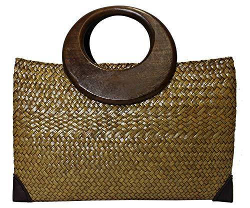 Rotfuchs Bolso de mano de paja para mujer, bolso de la compra o la playa, hecho a mano, de juncos, 38 cm, color marrón