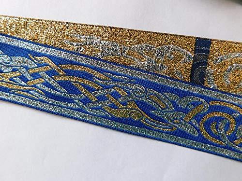 Celtic Running Dog Jacquard Ribbon gET Trim Woven Metallic Jacquard Ribbon Trim Tape Blue~1-1/4'