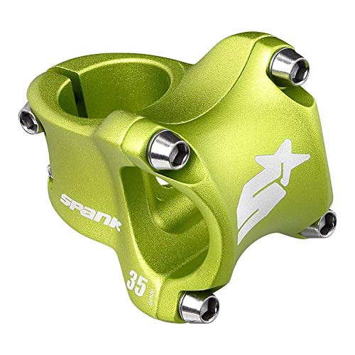 SPANK Spike Race 2 Shot-Peen Anodized MTB Bicycle Stem (Green, 35mm), Lightweight and Strong Alloy Stem for Mountain Bike, Mountain Bike Stem Short Handlebar, Stem for Most Bicycle, Cycling