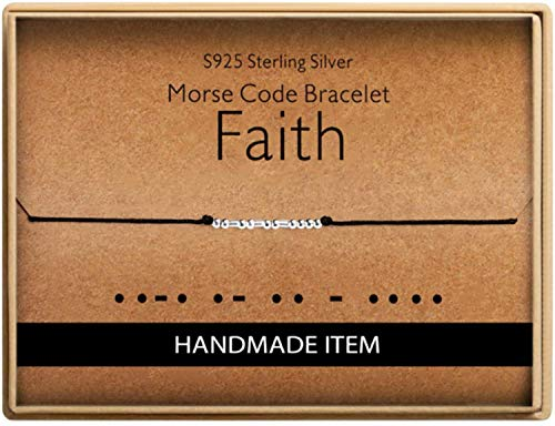Morse Code Faith Bracelet 925 Sterling Silver Handmade Bead Adjustable String Bracelets Inspirational Jewelry for Women