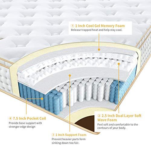 BedStory California King Mattress, 12 Inch Hybrid Mattress Cal King Size in a Box, Gel Memory Foam Pocket Spring Coil Mattress, Medium Firm Double Bed Mattress Euro Top, CertiPUR-US Certified - White