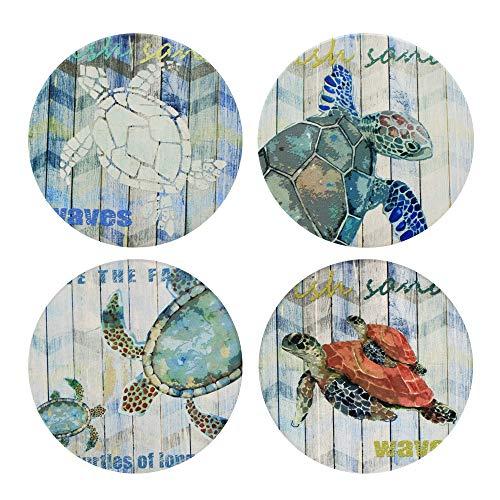 Posavasos absorbentes con diseño de tortuga marina, juego de 4 posavasos con colores vibrantes y base de corcho