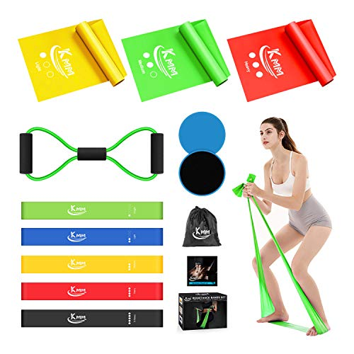 KMM Resistance Bands Set, Loop Bands Professional Latex Elastic Bands, Core Sliders, 8-Shaped Stretch Bands for Physical Therapy, Yoga, Pilates, Rehab, Home Gym Workouts (Multicolor)