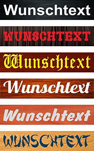Schild Wunschtext Wunschname – 52x11cm – 10 Designs + 10 Schriften + Bohrlöcher Aufkleber Hartschaum Aluverbund -S00154B