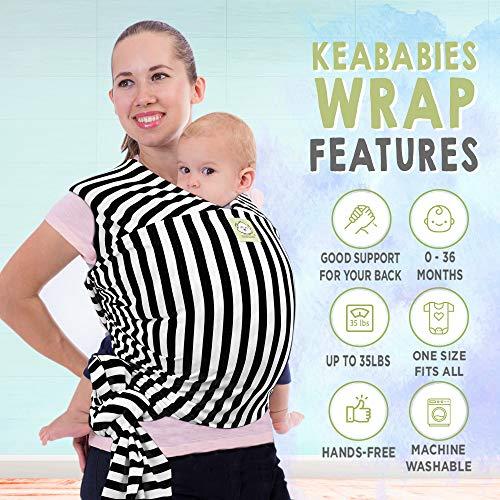 Elastico Baby Wrap All in 1 per bambini - Marsupio - Porta per neonati - Baby Wrap (Strisce Nere)