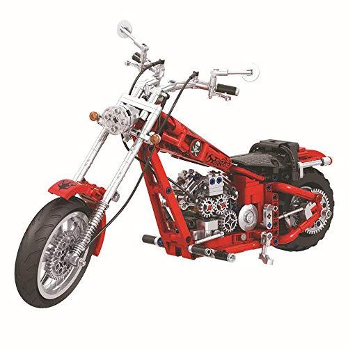 Technik Chopper Bausteine Motorrad 568 Teile,funktionierendes Getriebe,kompatibel mit L**O Technik