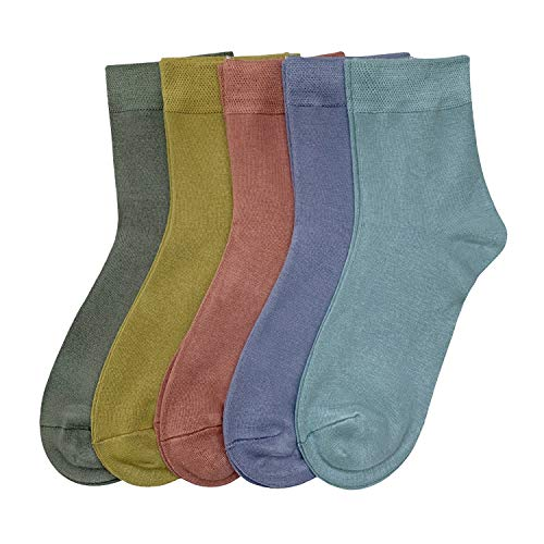 Women Casual Socks Bamboo Thin sock Ankle Breathable Odor Resistant Sock 5 Pairs (Assorted3, Medium)