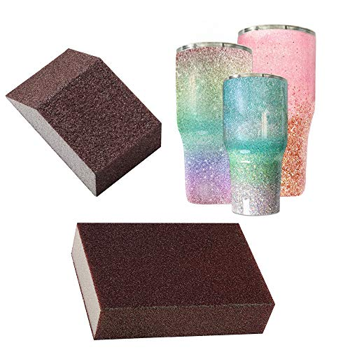 Yaromo 2 Pieces Sanding Sponge for Epoxy Glitter Tumblers