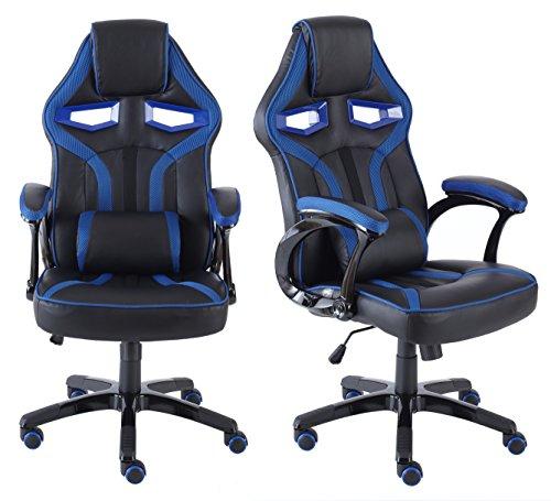 Neo ® Executive PU Leder Sport Rennwagen Spiele Büro Stuhl mit Lendenstütze - Blau & Schwarz, 127cm x 48cm x 47cm
