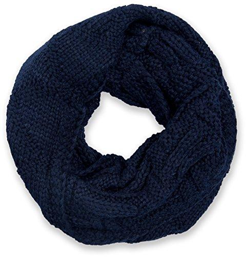 styleBREAKER sciarpa scaldacollo in maglia con motivo a griglia, sciarpa ad anello in maglia fine a tinta unita, sciarpa invernalein maglia, unisex 01018155, colore:Blu notte/Blu scuro