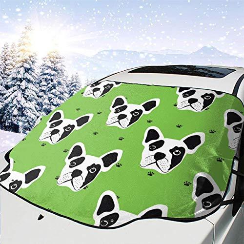 dogdoh Französische Bulldogge 974 Auto Windschutzscheibe Schneedecke Eisabdeckung Windschutzscheibe 57.9X46.5 Zoll Sonnenschutz Wasserdichter Windschutzscheibenschutz für Jeep Trucks Gelä