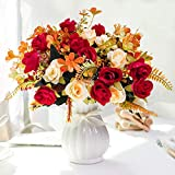 LESING Artificial Fake Flowers with Vase Silk Artificial Roses Wedding Flowers Bouquets Home Office Party Meeting Room Decoration (Red-1)