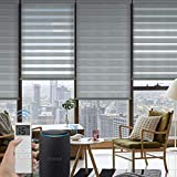 Graywind Motorized Zebra Sheer Blinds Compatible with Alexa Horizontal Light Filtering Window Shades Remote Roller Blinds with Valance for Smart Home and Office, Customized Size, Grey