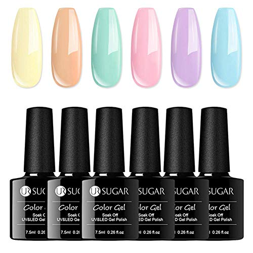 UR SUGAR 7,5ml UV Gel Nagellack Set, Shell Nail Polish Set Soakoff Gel Bonbonfarben Makrone Nageldesign Maniküre Nagelgel 6pcs Kit