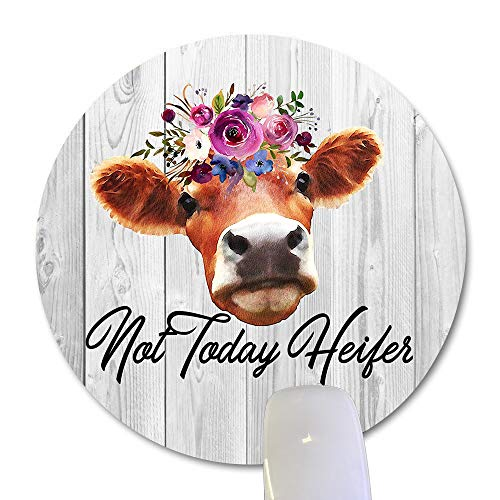 Wknoon Not Today Heifer Cow Funny Quote Round Mouse Pad Custom, Rustic White Grey Wood Grain Office Decor Desk Accessories, Cute Floral Cow Print Art Gifts Circular Mouse Pads