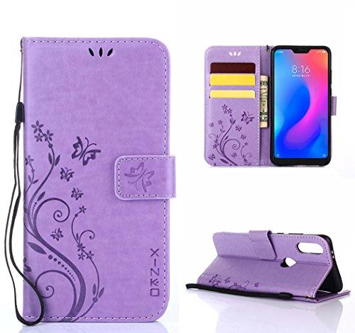 XINKO Xiaomi Mi A2 Lite Hülle, Retro Blumen Muster Design -[Ultra Slim][Card Slot] Wallet Tasche Hülle für Xiaomi Mi A2 Lite (Lila)