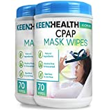 CPAP Mask Wipes, Quick and Hygienic CPAP Cleaner, Unscented and Lint-Free, CPAP Wipes to Clean Your Machine Daily, CPAP Cleaner and Sanitizer, 2 Pack 140 Wipes - Keenhealth - K-CW-519