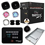 SteamSpa Raven Series Wifi and Bluetooth 12kW QuickStart Steam Bath Generator Package Matte Black | Touch Screen Wifi App Control Steam Shower Kit with Drain pan and speakers | RVB1200BK-A