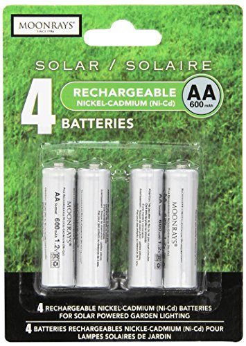 Moonrays OCYLUP-AB7 97125 Rechargeable AA Batteries for Solar-Powered Lights (4-Piece Value Pack), 4 Pack