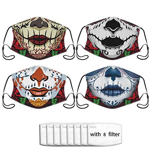 Dia De Los Muertos Sugar Skulls Face Mask,Comfortable Balaclavas Reusable Bandana Adjustable Scarf For Adult (With 8 Filters)