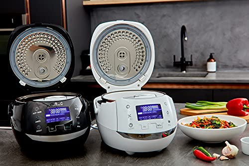 Yum Asia Sakura Rice Cooker with Ceramic Bowl and Advanced Fuzzy Logic (8 Cup, 1.5 Litre) 6 Rice Cook Functions, 6 Multicook Functions, Motouch LED Display, 120V Power (Black and Silver)