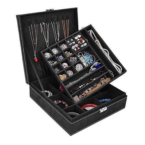 Opret Jewelry Box for Girls, Jewelry Organizer with Lock Two-Layer Lint Jewelry Storage Case Jewelry Display for Women (Black)