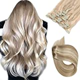 Clip in Hair Extensions Real Human Hair Beige with Blonde Highlights 7 pieces 70 Gram 15 inch Silky Straight Double Weft Remy Extensions Clip on for Fine Hair Full Head for Women