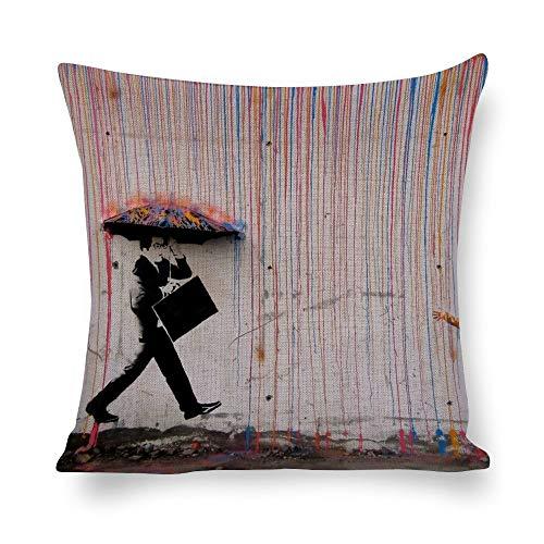 VinMea Dekorativer Kissenbezug aus Baumwollleinen, Banksy Regenschirm, Happy Girl, Wurfkissenbezug für Zuhause, Büro, Dekoration, quadratisch, 50,8 x 50,8 cm