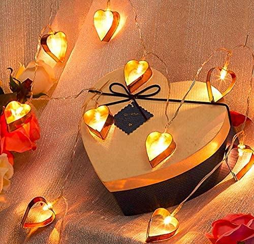 YXYY Cadena de luces geométricas de metal, 3M 20LED corazón hadas cadena luces geométricas oro rosa metal hadas luces batería para jardín fiesta al aire libre