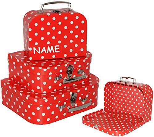 alles-meine.de GmbH 3 TLG. Set _ Kinderkoffer / Koffer - MITTEL -  Punkte - rot & weiß  - incl. Name - ideal für Spielzeug und als Geldgeschenk - Mädchen & Jungen - Kinder & Er..