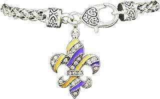 LSU PURPLE & GOLD FLEUR De Lis Charm Bracelet Embellished with Crystal Rhinestones.Gift Boxed
