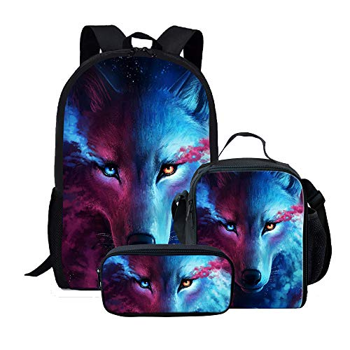 Amzbeauty Cool Wolf Backpack with Lunch Bag Pencil Case, 3 Pcs Bookbags Sets, Best Gifts for school children/ Kids/ Boys/ Girls
