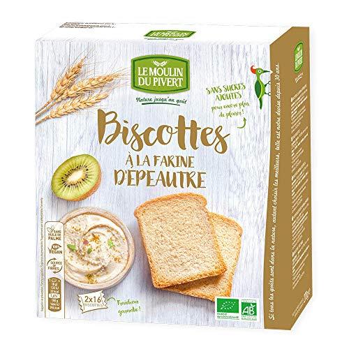 Le Moulin Du Pivert - Biscottes à la farine d épeautre bio & vegan 32 tranches - 270 g