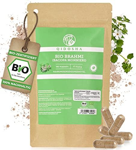 QIDOSHA® Bio Brahmi Kapseln (Bacopa monnieri) hochdosiert, 180 Stk, 1000 mg Brahmi Pulver bio je Tagesportion, vegan, laborgeprüft