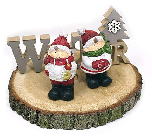 2 x Deko Figur Wichtel Zwerg Mädchen & Junge stehend im Set, aus Keramik grau Steinoptik 10 cm groß, Gartenfigur witzige Figur als Deko Gartendeko - 2