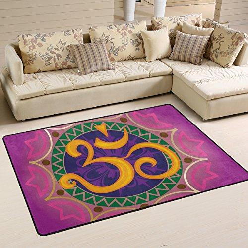 COOSUN Alfombra antideslizante con diseño de chakra, Ohm con mandala, 91,4 x 61 cm
