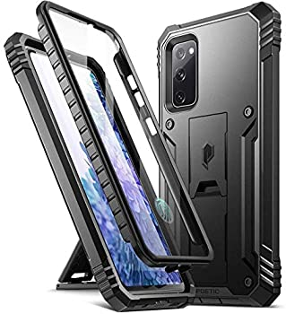 Poetic Revolution Series Designed for Samsung Galaxy S20 FE 5G Case  2020 Release  Full-Body Rugged Dual-Layer Shockproof Protective Cover with Kickstand and Built-in-Screen Protector Black