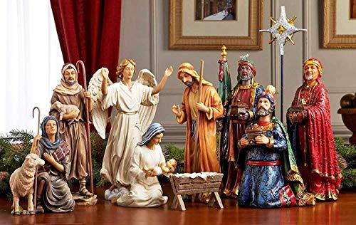 Tres Reyes 11piezas Set Figuras para Belén 14Inch con Real Oro, incienso y mirra