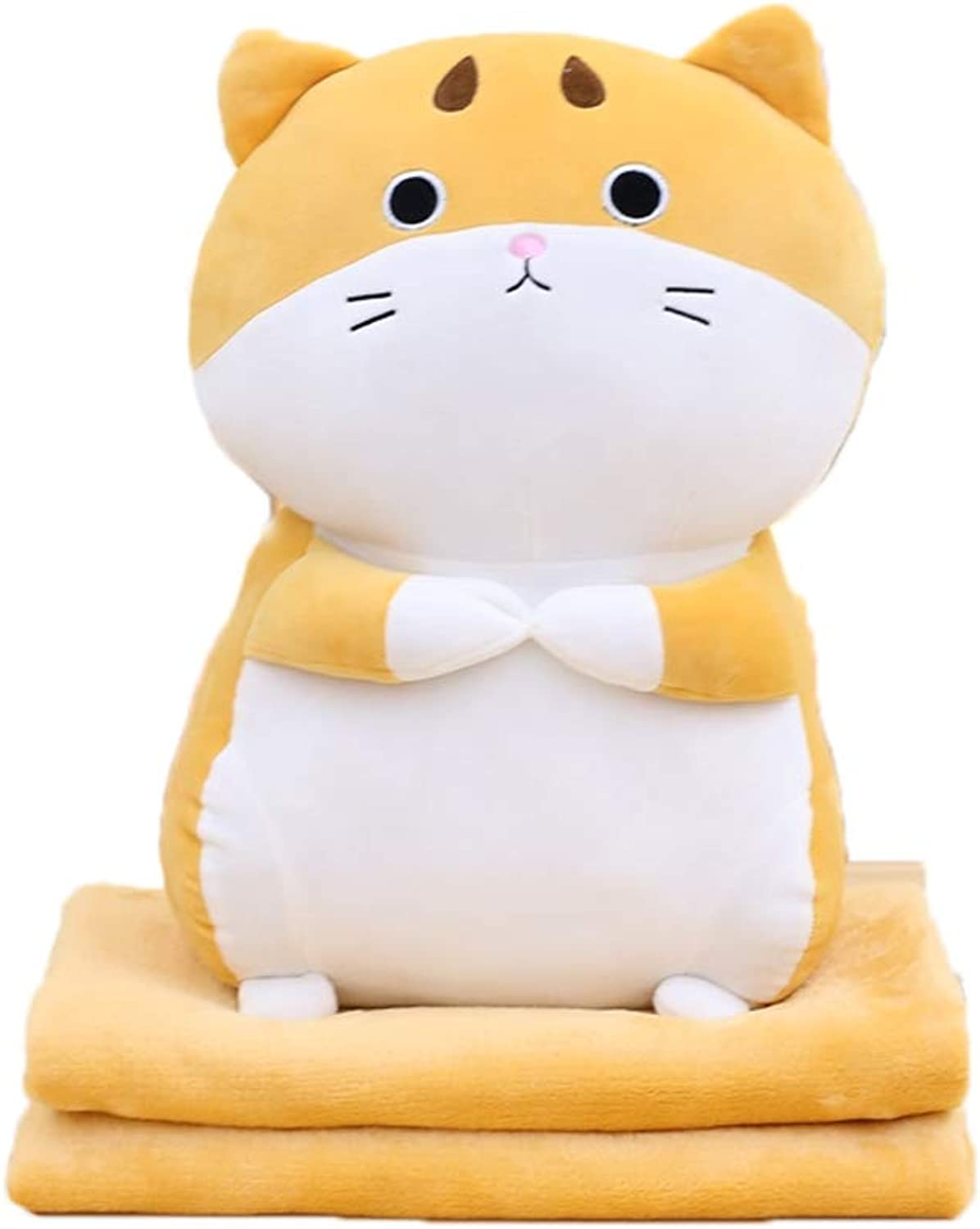 Creative Dual Purpose Pillow Flannel Blanket Within Cartoon Cat Shape Pillow Sofa Cushion Plush Toy for Kids