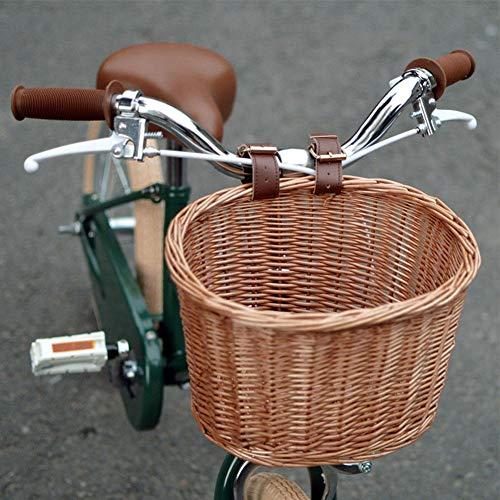 N/P Manubrio Anteriore Cestino per Bici in Vimini Intrecciato a Mano Artigianato Popolare Manubrio per Bicicletta Cesto portaoggetti Staccabile Acqua con Cinghie in Pelle (Color Miele Senza Fodera)