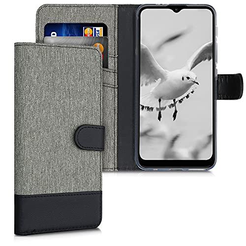 kwmobile Funda Compatible con Motorola Moto G30 / Moto G10 - Carcasa de Tela y Cuero sintético Tarjetero Gris/Negro