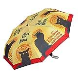 VON LILIENFELD Paraguas Bolsillo Plegable Gato Chat Noir Ligero Estable Apertura Automático Compacto