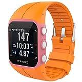 Correas Colores Bandas de Reemplazo Suave Silicona Correas Pulsera Para M430 GPS Reloj Smartwatch, Ancho de Bbanda 23MM by Saisiyiky (Naranja)