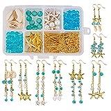 SUNNYCLUE 1 Caja DIY 8 Par Estrella de Mar Cowrie Shell Cuelga Pendiente Kit de Fabricación de Joyas Suministros Abalorios Kits de Inicio para Adultos Principiantes, Anzuelo, Tema Ocean Beach